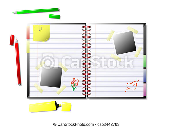 Illustration Of An Open Scrapbook Available In Jpeg And Drawings