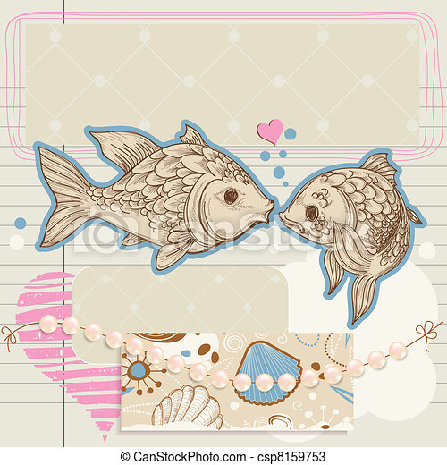 Scrapbook elements on love and sea theme - csp8159753