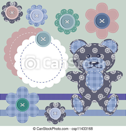 scrapbook objects and teddy bear - csp11433168