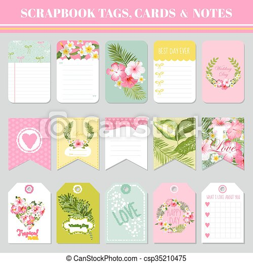 Scrapbook Tags Cards And Notes For Birthday Baby Shower Party