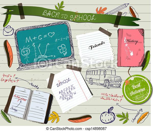 scrapbooking, בית ספר, poster., השקע - csp14898087