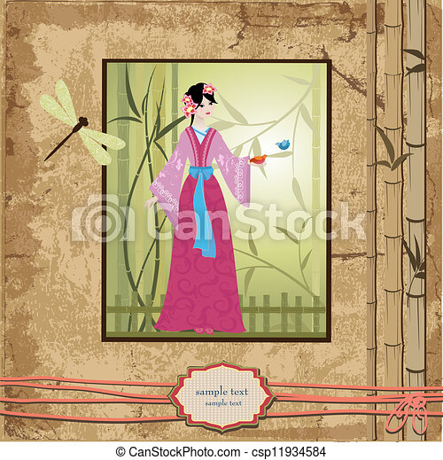 scrapbooking. Asian girl with vintage patterns for your design - csp11934584