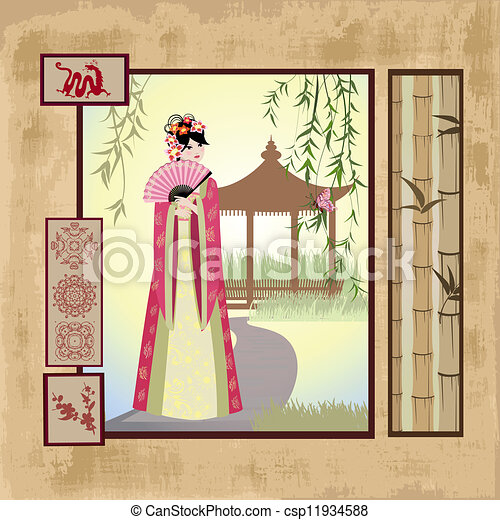 scrapbooking. Asian girl with vintage patterns - csp11934588