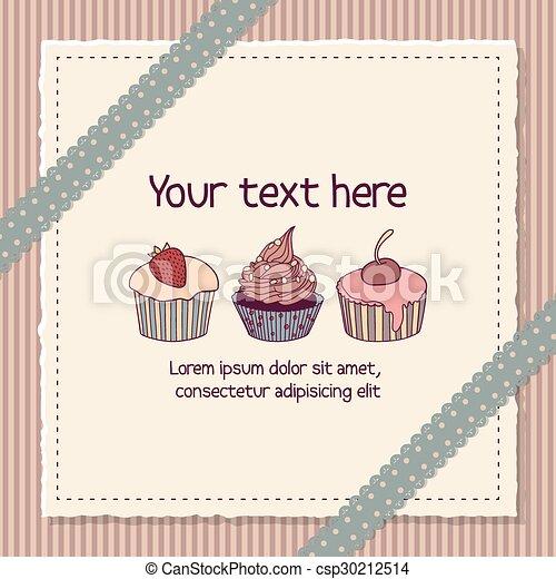 Scrapbooking card with cupcakes - csp30212514