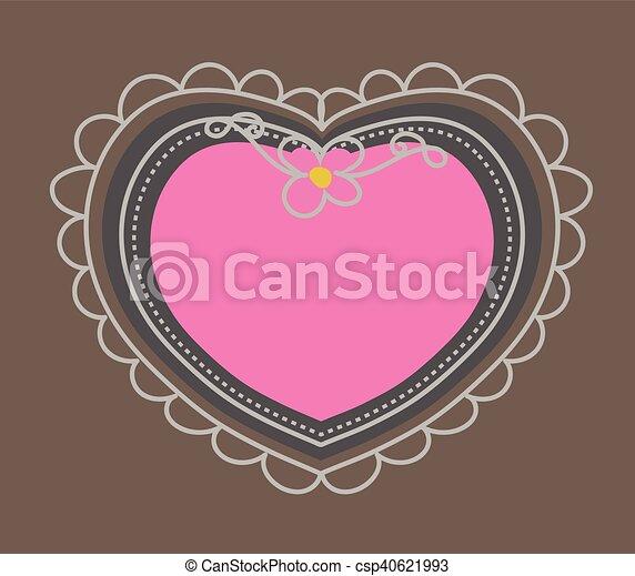 Scrapbooking Heart Frame Vector - csp40621993