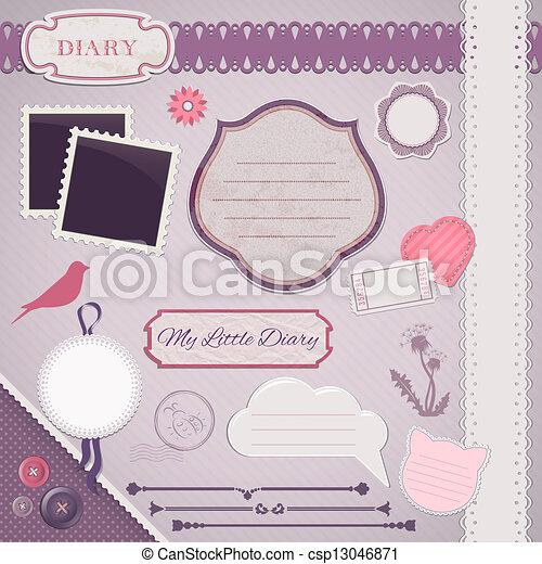 Scrapbooking Set: My Little Diary - csp13046871