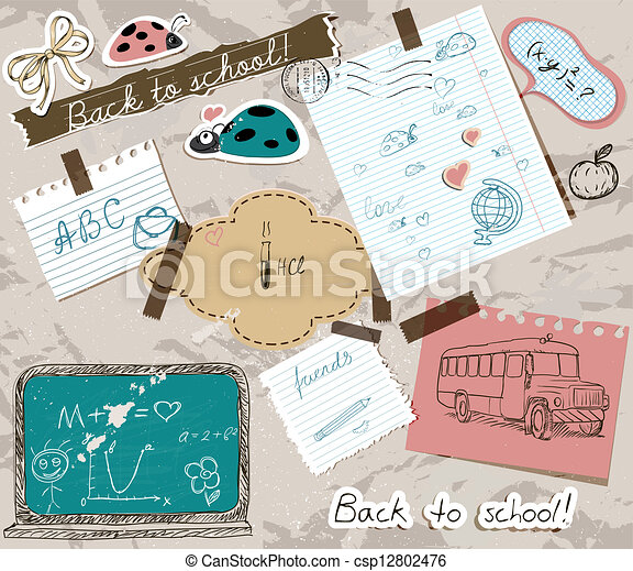 scrapbooking set with school elements. - csp12802476