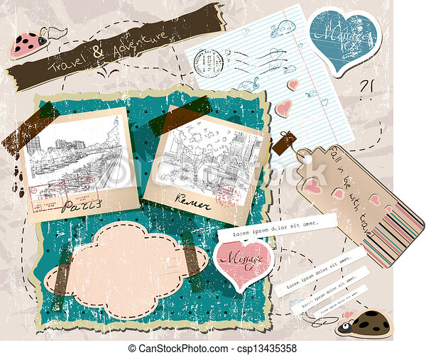 scrapbooking set with stamps and photo frames. - csp13435358