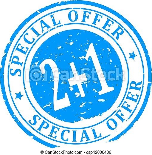 Scratched blue round stamp with the inscription - Special Offer 2 + 1 - Vector - csp42006406
