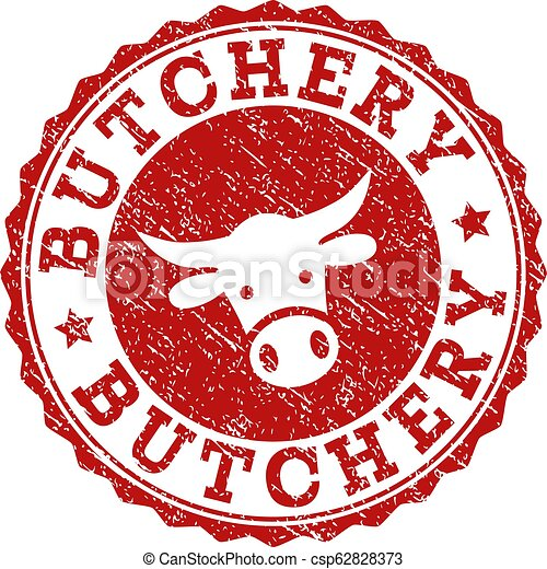 Scratched BUTCHERY Stamp Seal - csp62828373
