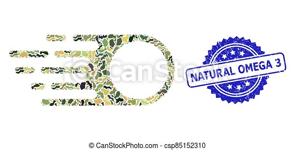 Scratched Natural Omega 3 Stamp and Military Camouflage Collage of Photon Flight - csp85152310