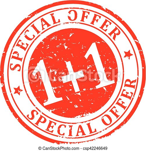 Scratched red round stamp with the inscription - Special Offer 1 + 1 - Vector - csp42246649
