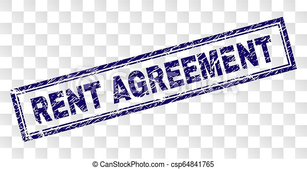 Scratched Rent Agreement Rectangle Stamp