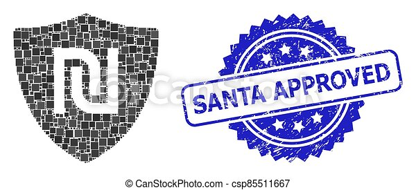 Scratched Santa Approved Stamp and Square Dot Collage Shekel Guard - csp85511667