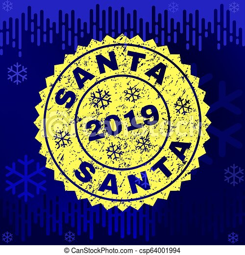 Scratched SANTA Stamp Seal on Winter Background - csp64001994