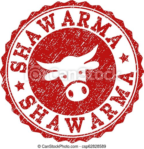 Scratched SHAWARMA Stamp Seal - csp62828589
