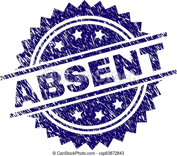 Scratched Textured ABSENT Stamp Seal - csp63872843