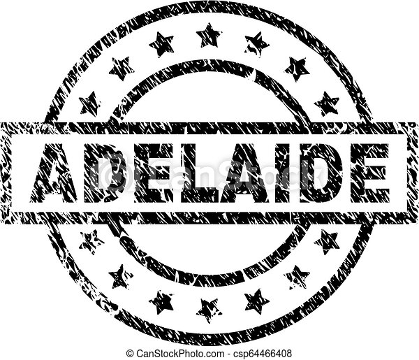 Scratched Textured ADELAIDE Stamp Seal - csp64466408