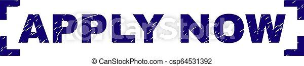 Scratched Textured APPLY NOW Stamp Seal Between Corners - csp64531392