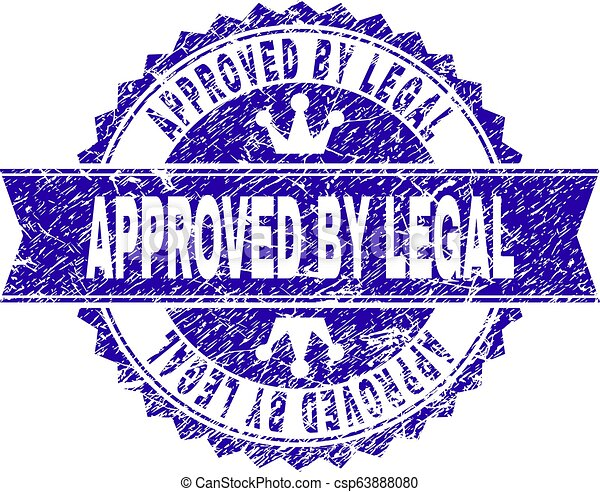 Scratched Textured APPROVED BY LEGAL Stamp Seal with Ribbon - csp63888080