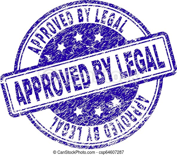 Scratched Textured APPROVED BY LEGAL Stamp Seal - csp64607287