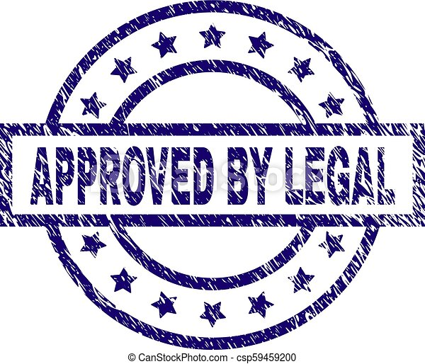 Scratched Textured APPROVED BY LEGAL Stamp Seal - csp59459200