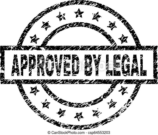 Scratched Textured APPROVED BY LEGAL Stamp Seal - csp64553203