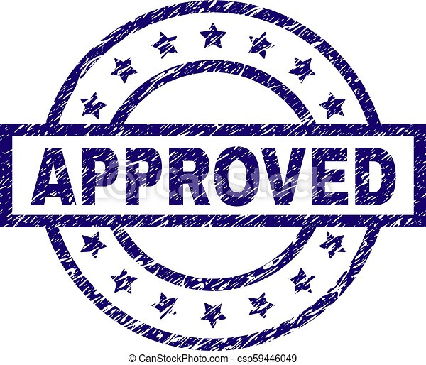 Scratched Textured APPROVED Stamp Seal - csp59446049