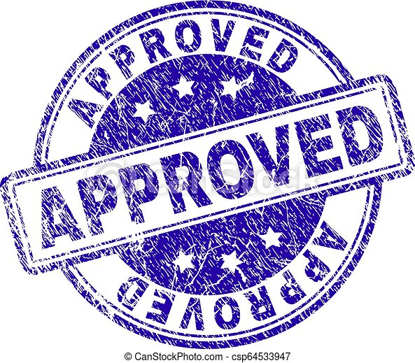 Scratched Textured APPROVED Stamp Seal - csp64533947
