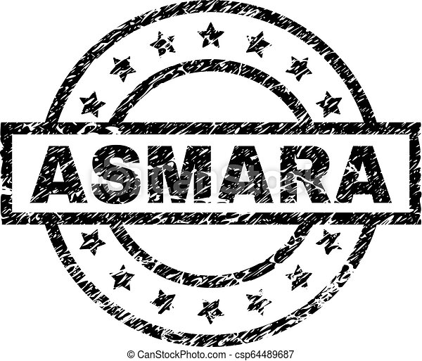 Scratched Textured ASMARA Stamp Seal - csp64489687