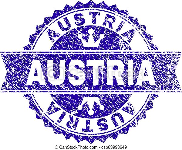 Scratched Textured AUSTRIA Stamp Seal with Ribbon - csp63993649
