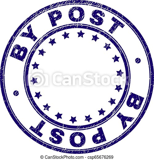 Scratched Textured BY POST Round Stamp Seal - csp65676269