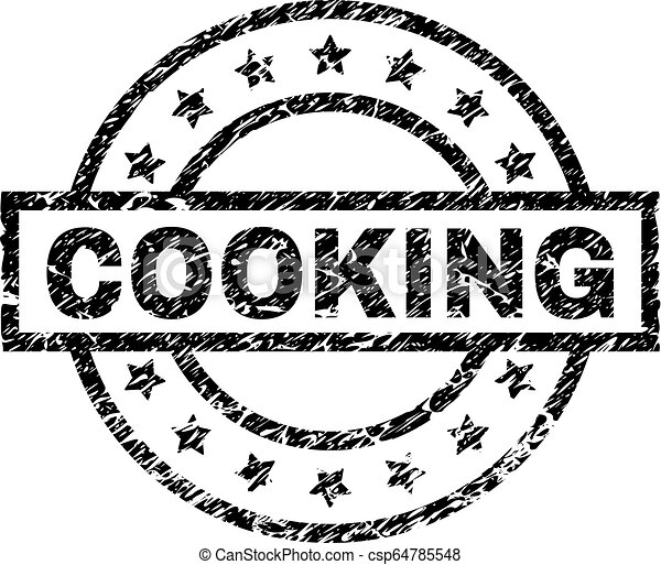 Scratched Textured COOKING Stamp Seal - csp64785548