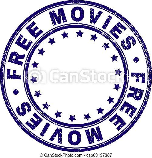 Scratched Textured FREE MOVIES Round Stamp Seal - csp63137387