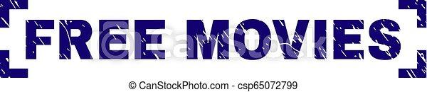Scratched Textured FREE MOVIES Stamp Seal Between Corners - csp65072799