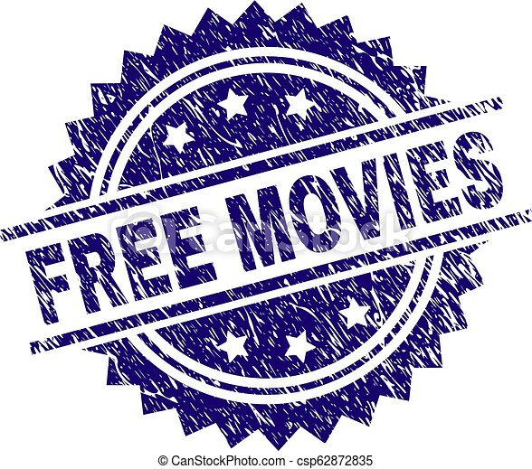 Scratched Textured FREE MOVIES Stamp Seal - csp62872835