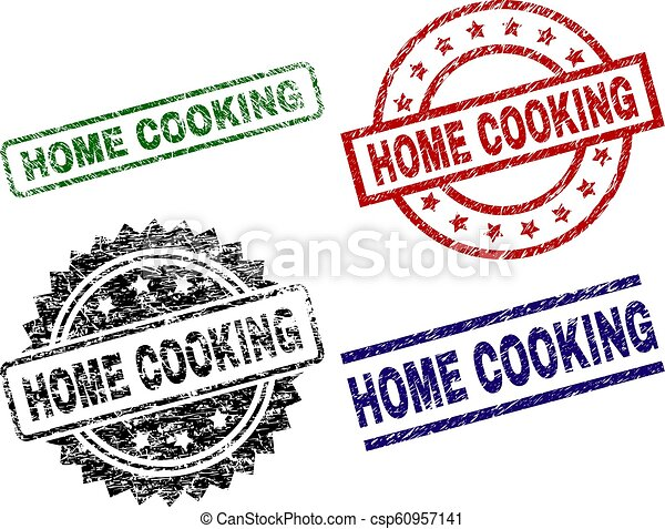 Scratched Textured HOME COOKING Stamp Seals - csp60957141