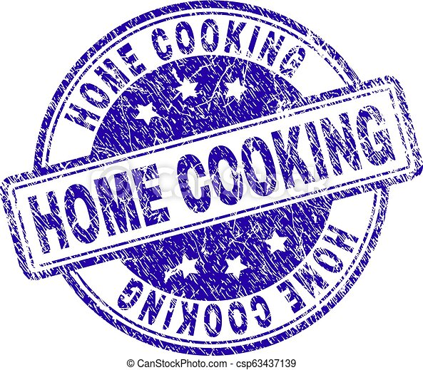 Scratched Textured HOME COOKING Stamp Seal - csp63437139