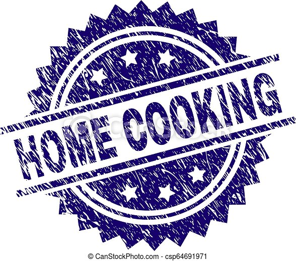 Scratched Textured HOME COOKING Stamp Seal - csp64691971