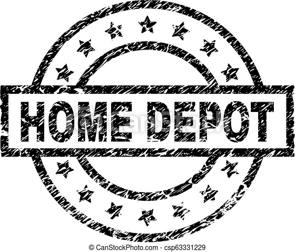 Scratched Textured HOME DEPOT Stamp Seal - csp63331229