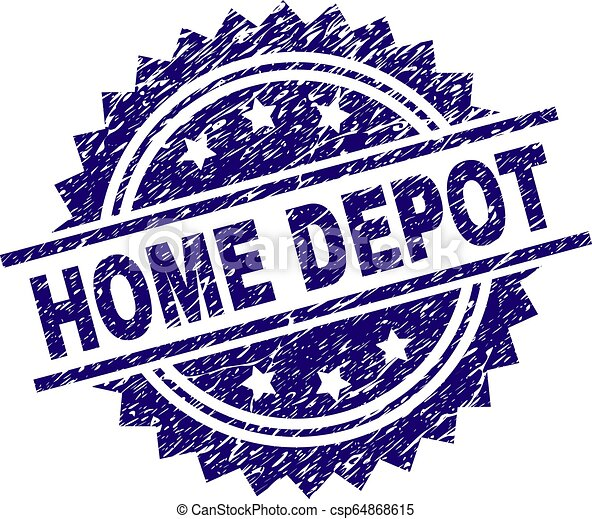 Scratched Textured HOME DEPOT Stamp Seal - csp64868615