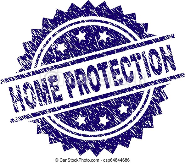 Scratched Textured HOME PROTECTION Stamp Seal - csp64844686