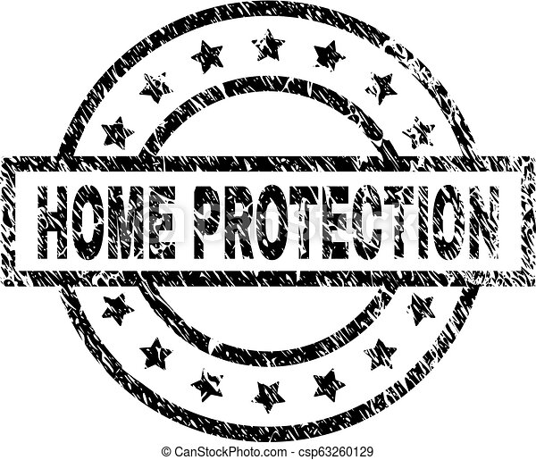 Scratched Textured HOME PROTECTION Stamp Seal - csp63260129