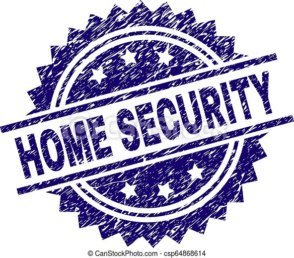 Scratched Textured HOME SECURITY Stamp Seal - csp64868614