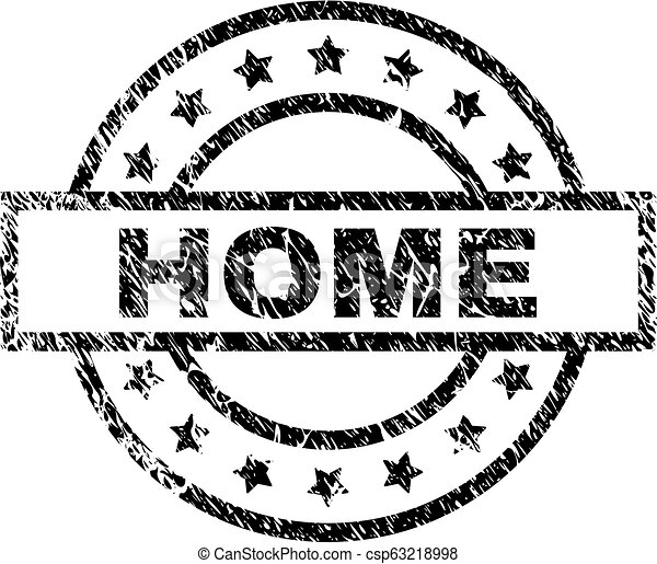 Scratched Textured HOME Stamp Seal - csp63218998