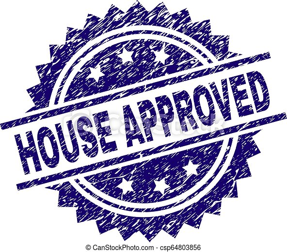 Scratched Textured HOUSE APPROVED Stamp Seal - csp64803856