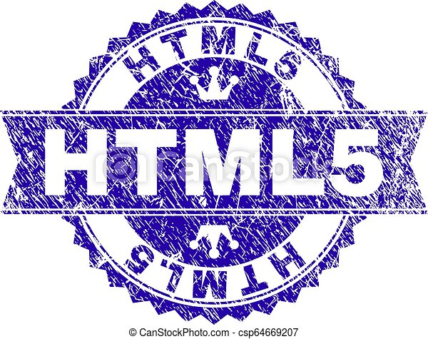 Scratched Textured HTML5 Stamp Seal with Ribbon - csp64669207