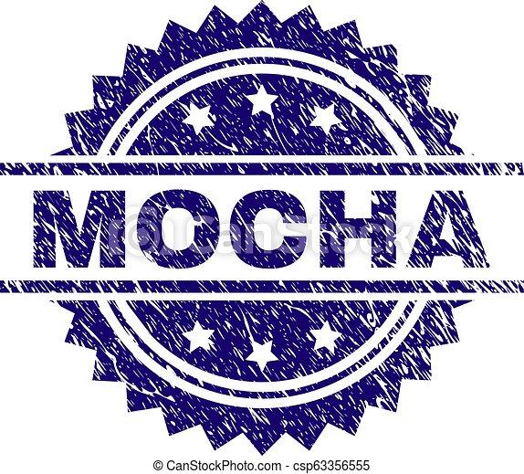 Scratched Textured MOCHA Stamp Seal - csp63356555