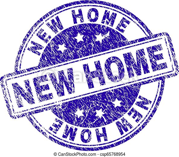 Scratched Textured NEW HOME Stamp Seal - csp65768954