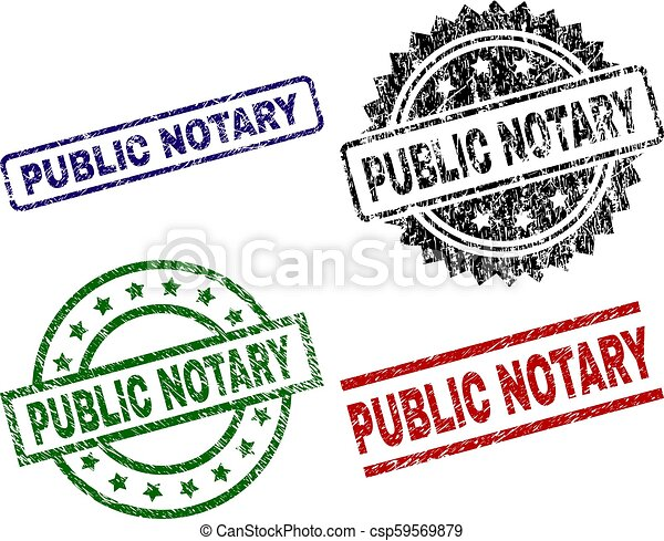 Scratched Textured Public Notary Seal Stamps